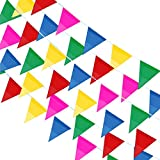 BAKHK 300 Stück Mehrfarbige Wimpel Banner Bunte Wimpelkette,114M Nylon Stoff Dekorationen Flaggen Für Festival Parteien,Hinterhof Picnics und Hochzeiten