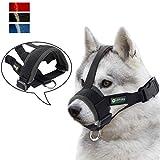 ILEPARK Maulkorb für Hunde Sicherheit Haustier für Kleine,Mittlere und Große,Verhindert Beisen, Bellen und Kauen abzuhalten anpassbare(L,Schwarz)