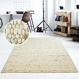 Moderner Handweb Teppich Alpina handgewebt aus Schurwolle für Wohnzimmer, Esszimmer, Schlafzimmer und die Küche geeignet (Muster, 60 Beige meliert)