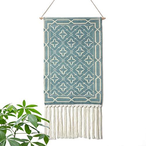 LOMOHOO aztekisch Makramee Wandbehang Böhmischer Stil Handgemachte Baumwolle Fransen Quaste Banner mit Kupfer Hängestange für Kinderzimmer Dekor Wand Dekoration (MS-Litaowan-Star)