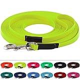 LENNIE BioThane Schleppleine, 20m mit Handschlaufe, Neon-Gelb, 16mm für große Hunde, genäht