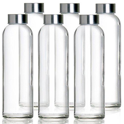 Glasflasche -Trinkflasche 6er Set Mit Nylon Schutzhüllen Wasserflaschen für Smoothies, Säfte, Tee, Wasser und andere Getränke BPA Frei | Luftdichte Trinkflaschen für Erwachsene & Kinder 6 x 500 ml