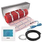 VILSTEIN Elektrische Fußbodenheizung (6m² - 12m lang/0,5m breit) Elektro Fußboden-Heizmatte 150W/m² für Fliesen-boden Fußboden-Heizsystem Elektrisch inkl. Thermostat TWIN Technologie Komplett-Set