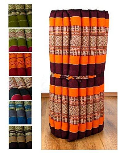 Kapok Rollmatte in 190cm x 75cm x 4,5cm der Marke Asia Wohnstudio; Liegematte bzw. Yogamatte, Thaikissen, Thaimatte als asiatische Rollmatratze (orange)