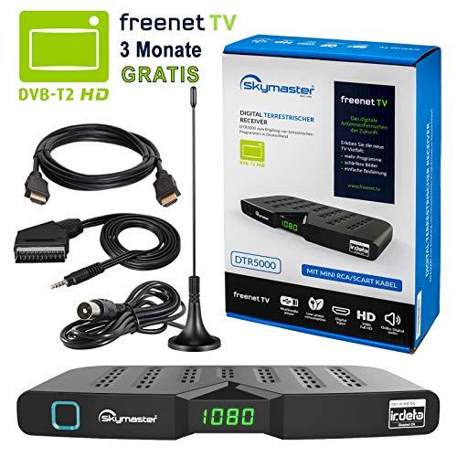 HB DIGITAL DVB-T/T2 Set: Skymaster DTR5000 DVB-T/T2 Receiver, kartenloses Irdeto-Zugangssystem für freenet TV + Stabantenne, passiv, mit Magnetfuß (Full HD, HEVC/H.265, HDTV, HDMI, USB DVBT2 DVB-T2)
