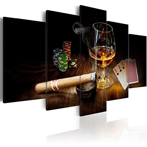 murando - Bilder 200x100 cm - Vlies Leinwandbild - 5 Teilig - Kunstdruck - modern - Wandbilder XXL - Wanddekoration - Design - Wand Bild - Alkohol Zigarre Poker Whisky i-A-0101-b-n