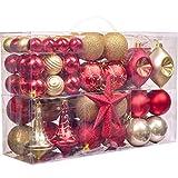Valery Madelyn 100 Teile 3-13cm Weihnachtskugeln Kunststoff zur Weihnachtsbaumdekoration mit Rot Gold Christbaumkugeln, Weihnachtsbaumspitze und passende Aufhänger Weihnachtsdekoration