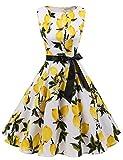 Gardenwed Damen 1950er Vintage Cocktailkleid Rockabilly Retro Schwingen Kleid Faltenrock