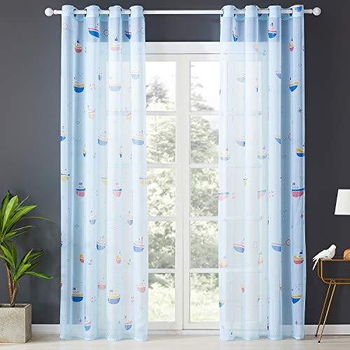 Topfinel Transparente Vorhänge mit Ösen Boot/Schiff Mustern Lange Gardine für Kinderzimmer Fenster Wohnzimmer 2er Set 245x140cm (HxB) Baum