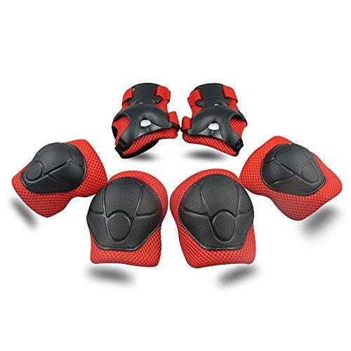 Kinder Schonersets, ToWinle Protektorenset Knieschoner Ellenbogenschützer Handgelenkschoner Schutzset für Kinder Hand-Knie, Ellenbogen Pads und Gel Pads (Rot und Schwarz)