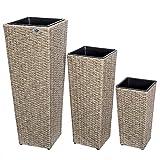 Deuba Blumentopf aus handgewobenem Polyrattangeflecht | Übertopf mit Wasserabfluss | Pflanzkübel 3er Set | Blumenkasten Creme