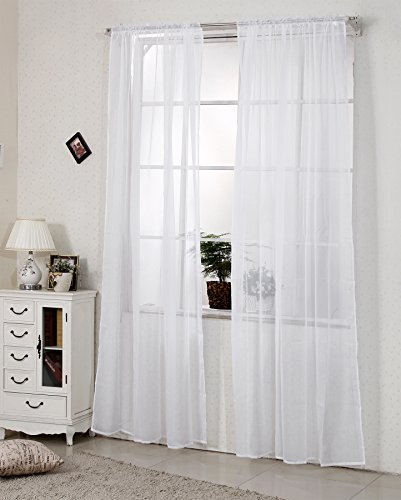 WOLTU VH5515ws, Gardinen Vorhang transparent mit 50mm KRÄUSELBAND Stores Schal Fensterschal Dekoschal Voile 140x225 cm Weiß , (1 Stück)