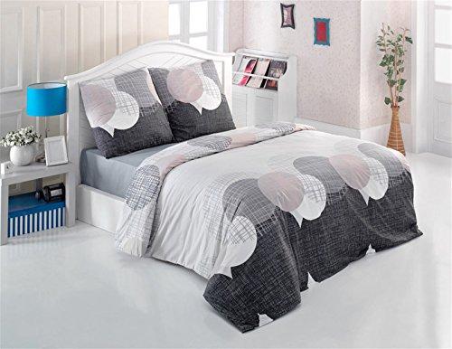 Bettwäsche Set 3 TLG. Baumwolle Renforcé Reißverschluss, 200x220 cm, Grau, Kreise Punkte