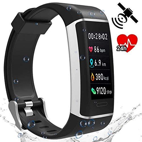 BerryKing Run-GPS 2019 Herzfrequenz Armband Tracker 24 Sportarten Multisport Wasserdicht Farb-LCD-Display Fitness Aktivität Schrittzähler Kalorien Herzfrequenz-Messer Schlaf-Analyse Wetter