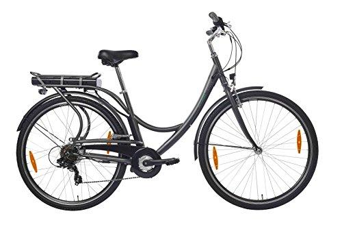 Teutoburg E-Bike, Elektrofahrrad mit HiTen Stahlrahmen in Anthrazit mit 6-Gang Shimano Kettenschaltung - Pedelec Citybike leicht, 250W & 8,8Ah / 36V Lithium-Ionen-Akku, 28 Zoll, 282686