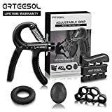 Handtrainer Fingertrainer Set, Arteesol Hand Trainingsgerät (5-50kg) 5 in 1 Unterarmtrainer Einstellbar Hand Grip für Klettern Fitness Therapie Krafttranieren Handrehabilitation [4 Color]