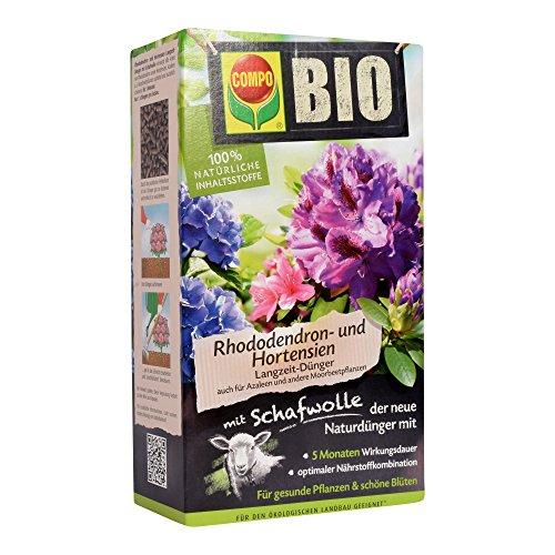 COMPO Bio Rhododendron Langzeit-Dünger für alle Rhododendren und andere Morbeetpflanzen, 5 Monate Langzeitwirkung, 2 kg