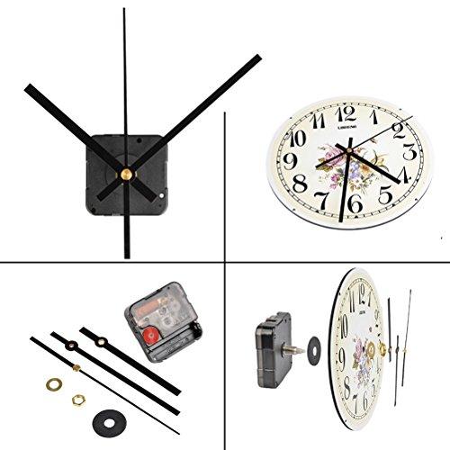 QLOUNI Lautloses Quarz-Uhrwerk, Maximale Zifferblatte von 3/10 Zoll dick , Gesamtschaftlänge von 4/5 Zoll, Schwarz