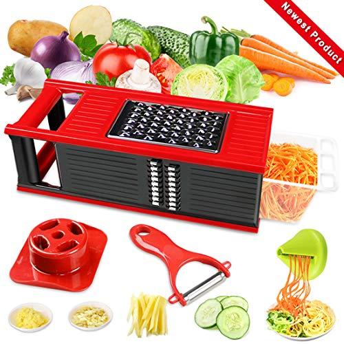 DA HENG Gemüseschneider Spiralschneider, Vielseitiger Gemüsehobel Kartoffelschneider Obstschneider, Handschutz, Frischhaltedose - Schneider für Tomaten, Zwiebeln, Käse, Gurken usw