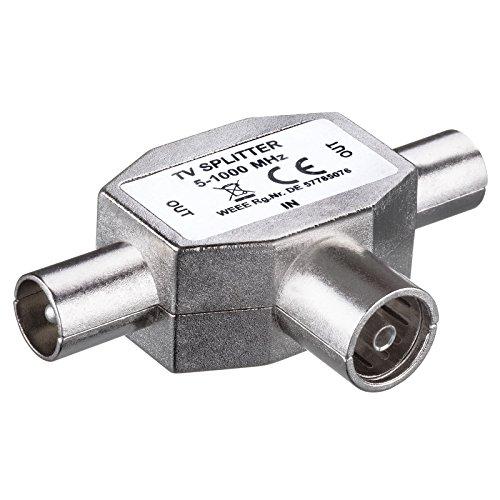 HB-DIGITAL TV-Verteiler | für Kabel- ( DVB-C ) und Terrestrischen-Empfang ( DVB-T , DVB-T2 ) geeignet | TV-Splitter | 2-Wege-Splitter | T-Splitter | T-Adapter | Vollmetallgehäuse | 1x Eingang: IEC-Buchse (TV Antenne, weiblich) | 2x Ausgang: IEC-Stecker (TV Antenne, männlich)