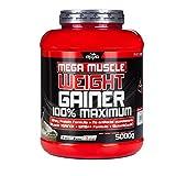 BWG Mega Muscle Weight Gainer 100% Maximum - perfekt für HardGainer und Massephasen - Kraftaufbau - Mega Chocolate - Dose mit Dosierlöffel - (1x 5000g Dose)