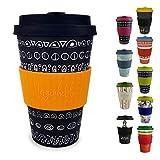 Morgenheld  Dein trendiger Bambusbecher | umweltfreundlicher Coffee-to-Go-Becher | nachhaltiger Kaffeebecher mit Silikondeckel und Banderole in coolem Design 400 ml Füllmenge (Blacky - gelb)