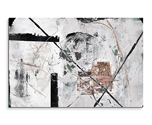 Paul Sinus Art 120x80cm Leinwandbild Leinwanddruck Kunstdruck Wandbild weiß grau schwarz braun Striche