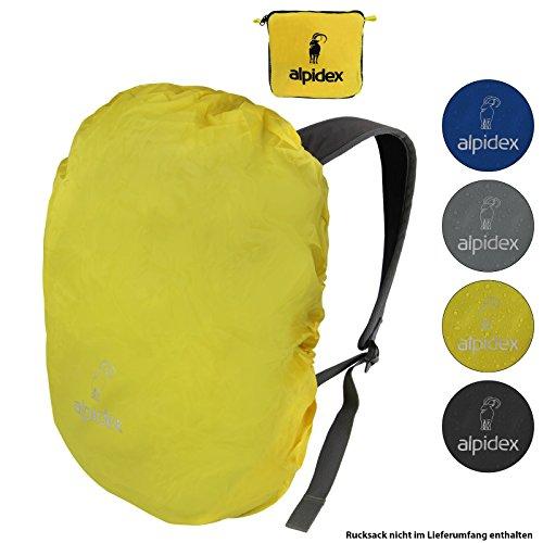 ALPIDEX Rucksack Regenschutz NO RAIN Regenhüllen Verschiedene Größen und Farben, für Rucksäcke Aller Marken, mit Kordelstopper und integriertem Packsack, Farbe:Yellow, Volumen:6-15 Liter
