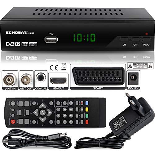 Echosat 2910 S DVB-T/T2 Digital Receiver - Full HD [ 1920 x 1080 ] HDMI MPEG-4 AVC MPEG-2 MP 1080i 1080P Standart Scart Einfache Installation { HEVC - H.264 H.265 } - TNT Terrestrisch