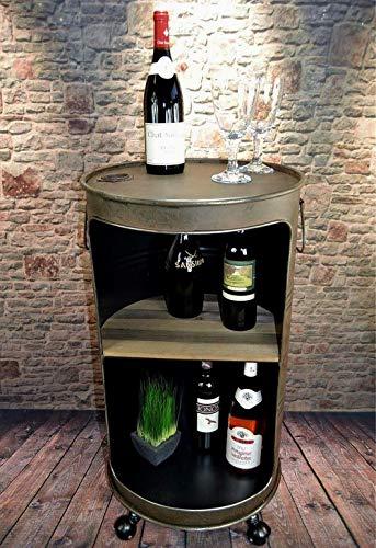 Livitat Minibar Hausbar Regaltonne Ölfass H80 cm Industrie Look Rost Loft Vintage LV5055