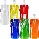 Blulu 6 Stücke Faltbare Wasserflasche Wiederverwendbare Trinkwasserflasche mit Klammer zum Radfahren, Wandern, 6 Farben (Stil Set 2)