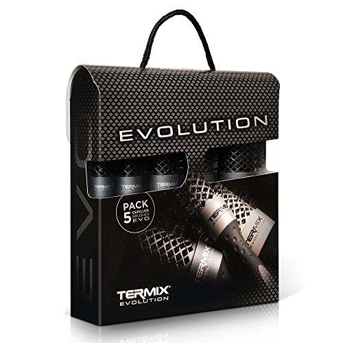 Termix Evolution Plus -Paket mit 5 Thermo-Rundbürsten mit leistungsstarken, ionisierten Borsten, speziell für dickes Haar. Die Packung enthält 5 Durchmesser