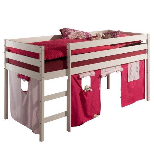 Hochbett Spielbett ERIK weiß inkl. Vorhang rosa/pink