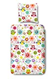 Aminata Kids – bunte Bettwäsche 135x200 cm Kinder Mädchen Eule Uhu Owl Baumwolle Reißverschluss Rosa Pink Blau Lila Grün Vogel Tiere Blumen Blümchen Kinderbettwäsche Bettwäscheset Bettbezug