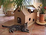 Katzenhaus aus Wellpappe mit Mäusehäuschen - Katzenkorb, Katzenhöhle