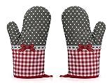 Rusty Bob - Ofenhandschuhe zum Backen | Backofenhandschuh aus Baumwolle | Hitzebeständig | in vielen lustigen Designs | Koch und Topflappen (Grau-Rot gepunktet - 2er Set)