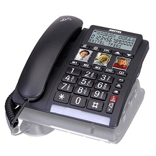 Switel TF560 Grosstastentelefon schnurgebunden, mobiler Notrufsender, drei Kurzwahl Fototasten, sehr laut, hörgerätekompatibel