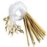16 Stück 15cm Bambus Afghan Tunesische Häkelnadel Set von Curtzy - Ideal Kit zum Häkeln vieler Muster und Projekte einschließlich Spitze, Blumen, Deckchen und Baby-Kleidung - Größen 2-12mm mit Kunststoff-Kabelenden