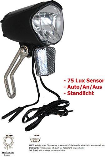 P4B 75 Lux LED Scheinwerfer + Standlicht + Sensor + Schalter für Nabendynamo StVZO zugelassen
