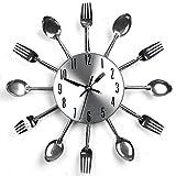 Küchenwanduhr Löffel Gabel Wanduhr, Kreative Designer - DIY Metall Besteck Küche Utensil Stil Uhr 3D Wanduhr, ca 31 cm, Silber, ohne Batterie