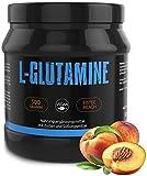 GYM-NUTRITION — L-GLUTAMIN Ultrapure Pulver – extra hochdosiert & 99,5% rein – proteinogene Alpha-Aminosäure, vegan – ideal für Body-Builder — Made in Germany — 500-g, Geschmack: ICE-TEA PEACH