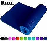 ReFit Fitnessmatte in Blau Blue | 1.5 cm | rutschfest | gelenkschonend | EXTRA dick und weich | Maße 183 cm x 61 cm x 1.5 cm | mit praktischem Trageband |