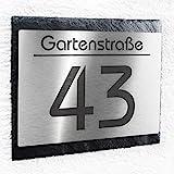 Metzler-Trade Hausnummer Schild Edelstahl & Natur-Schiefer - Beschriftung mit Wunsch-Gravur Hausnummer & Straße/Name - modernes Design - handgemacht - die perfekte Geschenkidee - Maße: 140 x 170 mm