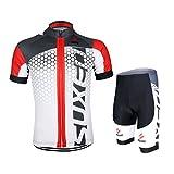 GWELL Männer Fahrradtrikot Set Fahrradbekleidung Atmungsaktiv Fahrrad Trikot Kurzarm + Radhose mit 3D Sitzpolster weiß rot 2XL