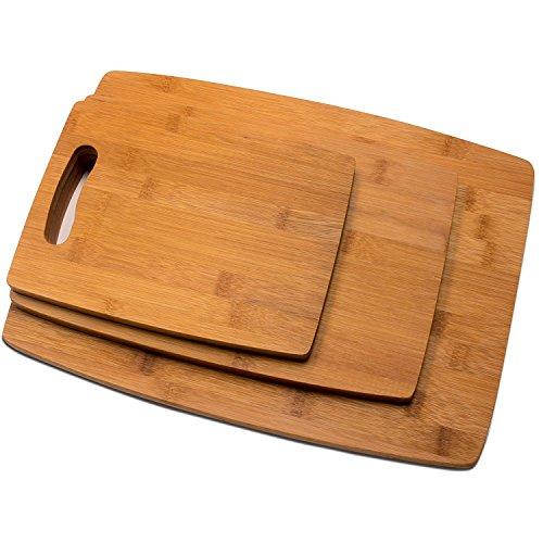 RSW24 Premium Schneidebretter Set 3 Größen aus Bambus, L: 38 x 28 cm, M: 32 x 21 cm, S: 24 x 18 cm , Brettchen fürs Frühstück in modernem Design pflegeleicht und messerschonend