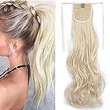 TESS Pferdeschwanz Haarteil Ponytail Extension Clip in Zopf Haarteil günstig Haarverlängerung Blond Gewellt 18'(45cm)-90g