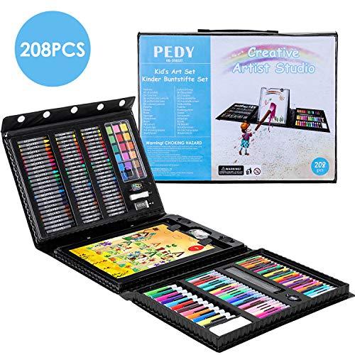 Pedy 208 pcs Malset, Zeichenset für Kinder-inkl. Wachsmalstifte, Wasserfarben, Ölpastelle, Filzstifte, Radierer, Aquarellstifte, Buntstifte, Skizzenblock