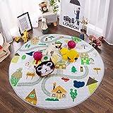 Winthome Baby-Spieldecke Rund, antirutschbeschichtete Baumwoll-Spieldecke mit Spielzeugaufbewahrungsfunktion - waschbare Krabbeldecke 150cm (house)