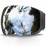 Skibrille, eDriveTech Ski Snowboard Brille Brillenträger Schneebrille Snowboardbrille Verspiegelt- Für Skibrillen Damen Herren - OTG UV-Schutz Anti Fog Verbesserte Belüftung für Skifahren, Snowboarden (Schwarz Rahmen/Silber Linse)