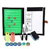 Professional Fußball Taktikmappe Taktiktafel Fußball Coach-Board mit Stifte, Radiergummi, Magneten,Aufbewahrungstasche